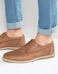 Светло-коричневые кожаные туфли дерби с джутовой отделкой подошвы ASOS