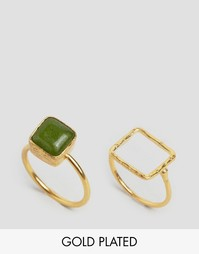 Ottoman Hands Lime Agate Square Stacking Ring - Золотой