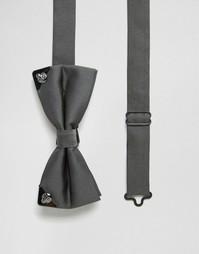Галстук-бабочка с металлической отделкой Noose & Monkey - Серый