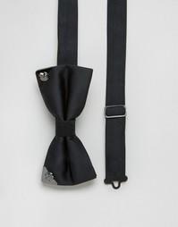Галстук-бабочка с металлической отделкой Noose & Monkey - Черный
