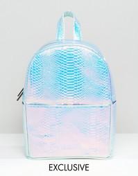 Рюкзак с голографическим эффектом змеиной кожи Skinnydip - Серебряный