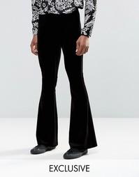 Расклешенные велюровые брюки в стиле 70-х Reclaimed Vintage - Черный