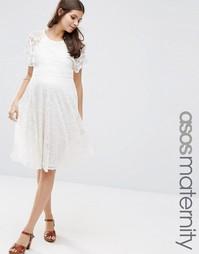 Кружевное приталенное платье для беременных с рукавами-бабочка ASOS Ma