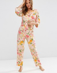 Пижамный комплект из рубашки и штанов с цветочным принтом ASOS