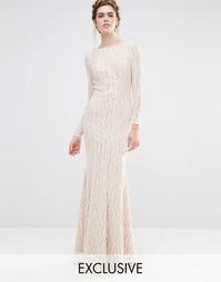 Свадебное платье макси с длинными рукавами и асимметричным краем Jarlo