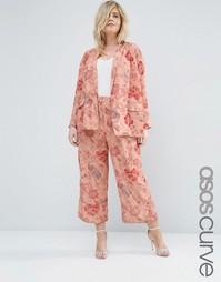 Широкие брюки с цветочным принтом ASOS CURVE - Сумеречно-розовый