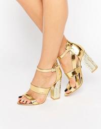 Золотистые сандалии на каблуке Daisy Street - Золотистый верх металлик