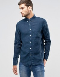 Синяя льняная рубашка классического кроя Abercrombie & Fitch - Синий
