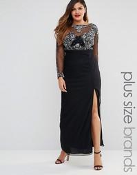 Сетчатое платье макси с декорированным лифом Lovedrobe - Черный