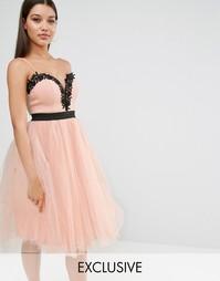 Платье с кружевным лифом и юбкой из тюля Rare London - Телесный