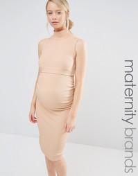 Платье миди в рубчик без рукавов для беременных Bluebelle Maternity