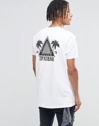 Длинная белая футболка с принтом спереди и сзади ASOS - Белый