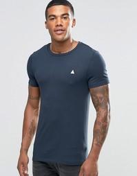 Темно-синяя облегающая футболка с логотипом ASOS - Графитовый