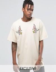 Oversize-футболка с нашивками Reclaimed Vintage - Stone