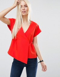 ASOS Obi Wrap Top with Drawstring Waist - Красный