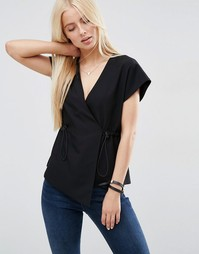 ASOS Obi Wrap Top with Drawstring Waist - Черный
