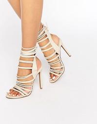 Boohoo Strappy Rope Detail Heeled Sandal - Телесный