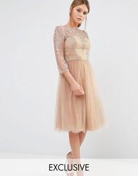 Кружевное платье миди с юбкой из тюля Chi Chi London
