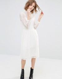 Платье миди с кружевной отделкой First & I - Чистый