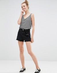 Джинсовые шорты с вышивкой Monki - Черный