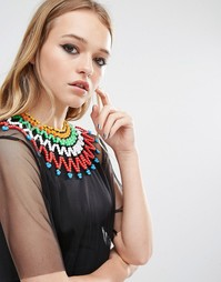 Ожерелье-чокер из разноцветного бисера Reclaimed Vintage - Мульти