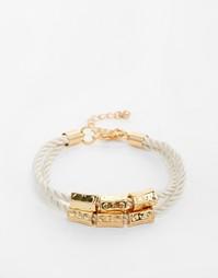 Плетеный браслет с золотистой отделкой Designb - Серебряный