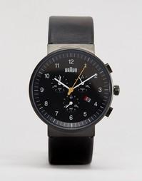 Черные классические часы с хронографом и кожаным ремешком Braun