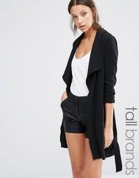 Драпированное пальто с поясом Vero Moda Tall - Черный