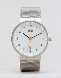 Классические часы с серебристым сетчатым ремешком Braun - Серебряный