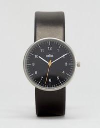 Классические часы с черным кожаным ремешком и циферблатом Braun
