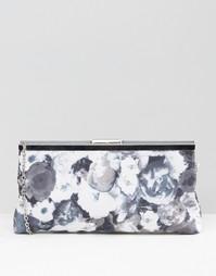 Клатч с цветочным принтом Lotus - Ткань с черным цветочным принтом