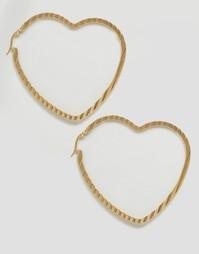 Серьги-кольца с сердцем Reclaimed Vintage - Золотой