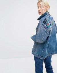 Джинсовая куртка из органического хлопка с вышивкой Monki - Синий