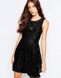 Yumi Skater Dress With Peter Pan Collar And Lace Trim - Черный
