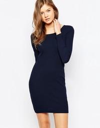 Темно-серое меланжевое платье Pieces Delfine - Navy  blazer