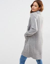Пальто-кардиган со спинкой в рубчик ASOS - Умеренный серый