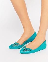 Остроносые туфли на плоской подошве Zaxy Free - Зеленый