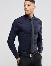 Темно-синяя рубашка с длинными рукавами и черный галстук ASOS - СКИДКА