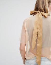 Атласное ожерелье‑чокер с бантом DesignB London - Кремовый