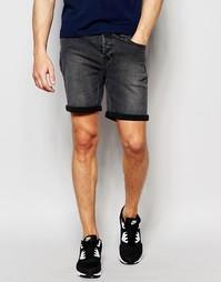 Джинсовые шорты слим с отворотами Only & Sons - Выбеленный серый