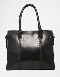 Кожаная сумка-тоут с накладными швами Urbancode - Черный
