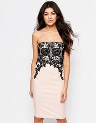 Платье-бандо с кружевной накладкой Paper Dolls - Розовый
