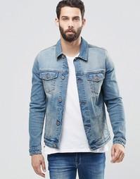 Выбеленная зауженная джинсовая куртка ASOS - Синий