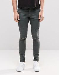 Зеленые супероблегающие джинсы с рваными коленями ASOS - Rosin