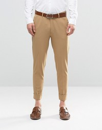 ASOS Super Skinny Trousers in Stone Jersey with Turn Up - Stone