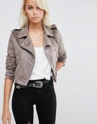 Байкерская куртка в замшевом стиле ASOS - Серый