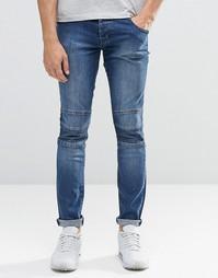 Байкерские джинсы скинни из стираного денима с молнией Loyalty & Faith