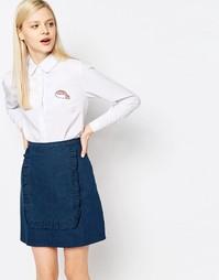 Рубашка с круглым воротником и накладкой The WhitePepper - Белый