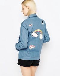 Джинсовая куртка с оборками и нашивками The WhitePepper - Синий