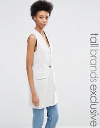 Приталенный пиджак без рукавов на одной пуговице Adpt Tall - Серый